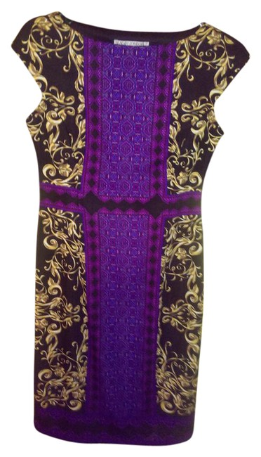 Item - Black/Purple/Gold Mid-length Cocktail Dress Size 6 (S)