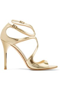 Jimmy Choo Lang 100mm 4 Inch Heel New gold Sandals
