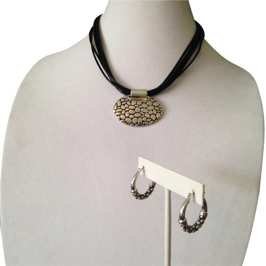 Preload https://item2.tradesy.com/images/napier-silverblack-2-piece-set-silver-tone-pebble-design-pendant-on-multi-leather-necklace-and-earri-2152266-0-0.jpg?width=440&height=440