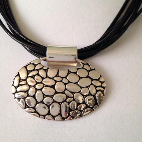 Napier 2-Piece Set, Silver-Tone Pebble Design Pendant On Multi-Leather Necklace & Earrings Image 1