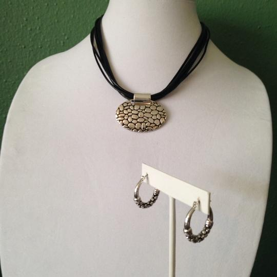 Napier 2-Piece Set, Silver-Tone Pebble Design Pendant On Multi-Leather Necklace & Earrings Image 4