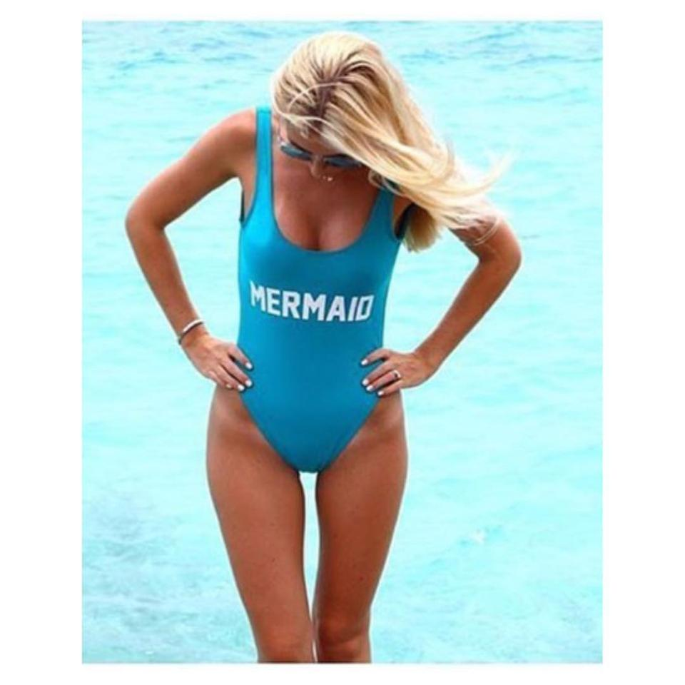 PRIVATE PARTY Turquoise Mermaid Swimsuit M/L One-piece Bathing Suit ...