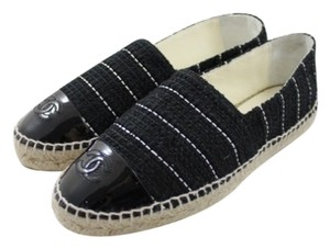 Chanel White Stripes Tweed Patent Leather Captoe Logo Cc Espadrille Black Flats