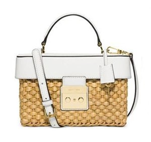 8de650e242db Added to Shopping Bag. MICHAEL Michael Kors Woven Straw Crossbody Gabriella  Satchel in Optic White Natural