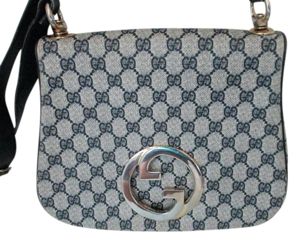 856da27e506 Gucci Vintage Purse Designer Purses Blue Large G Logo Print Coated Canvas    Navy Leather and Hobo Bag
