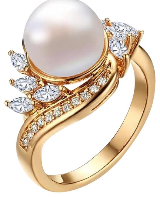 Item - White Gold Imitation Pearl Fashion Crystal Plated Ring