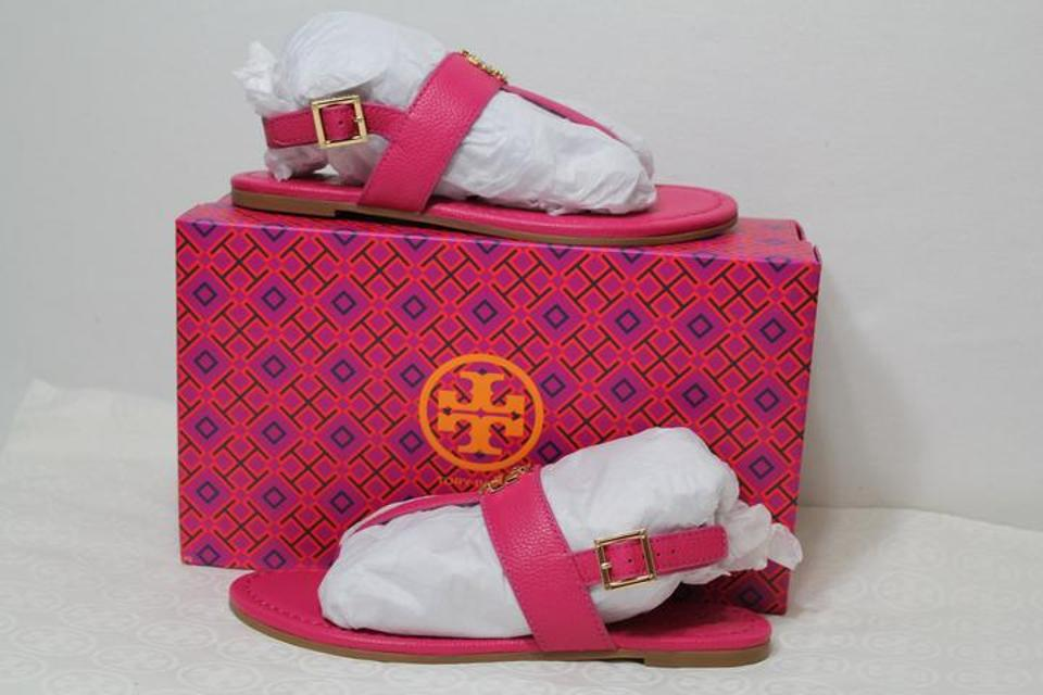 eb88c6828484b1 Tory Burch Pink T New Tags Gold Logo Leather Strap Ankle Flats ...