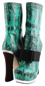 Miu Miu Hidden Platform Snakeskin Fashion Designer Multi Colored Boots