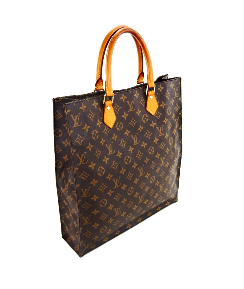 louis vuitton sac plat gm monogram canvas leather brown tote bag totes on sale. Black Bedroom Furniture Sets. Home Design Ideas