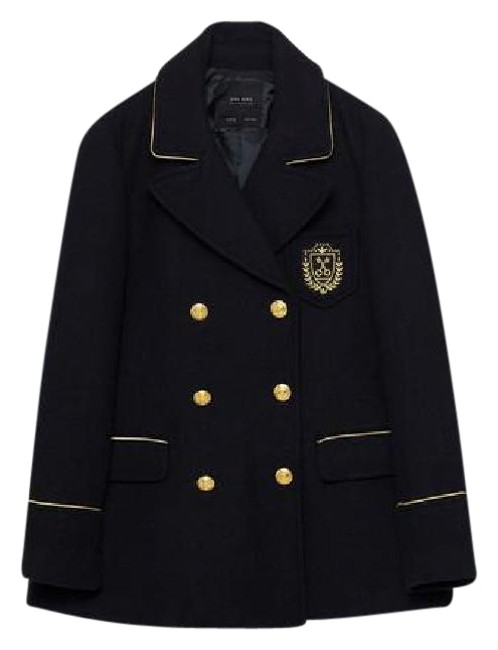 Item - Navy and Gold New Without Tags Double Breasted Military Jacket S Coat Size 4 (S)