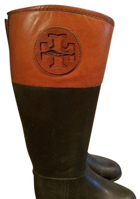 Item - Brown Black Diana Rain Leather/Rubber Boots/Booties Size US 5 Regular (M, B)