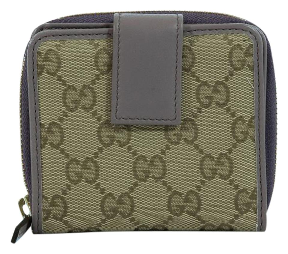 5c3de61af7bd Gucci Gucci 346056 Womens Leather French Zip Around Wallet, Purple Image 0  ...