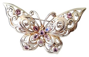 Faceted Amethyst & Sterling Silver Butterfly Pin