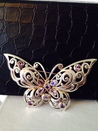 Other Faceted Amethyst & Sterling Silver Butterfly Pin