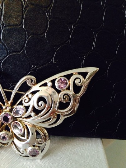 Other Faceted Amethyst & Sterling Silver Butterfly Pin Image 2