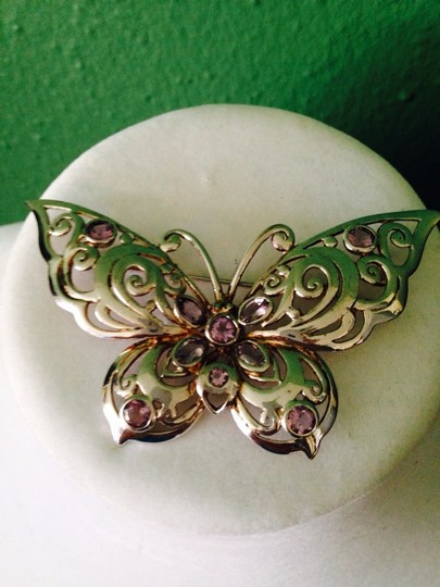 Other Faceted Amethyst & Sterling Silver Butterfly Pin Image 5
