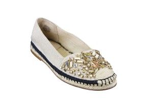 Brian Atwood Slip On Embellished Women Beige Flats