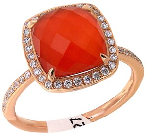 Dove's Dove's 4.53ct Red Agate And Diamond Fashion Ring In 18kt Rose Gold