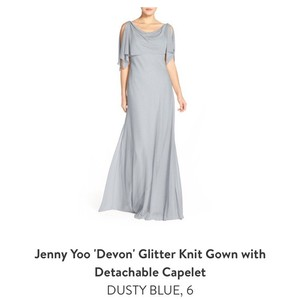 Jenny Yoo Dusty Blue Polyester Shimmer 'devon' Glitter Knit Gown with Detachable Caplet - Hemmed Formal Bridesmaid/Mob Dress Size 6 (S)