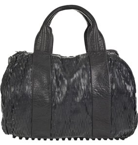 Alexander Wang Perforated Rocco Leather Duffle Satchel in Black