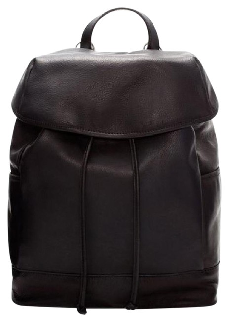 Item - Real Minimalist Modern Chic Plain Rucksack Black Leather Backpack