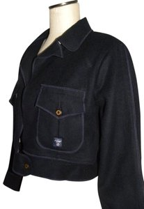 AG Adriano Goldschmied Cropped Wool Crop Military Dark Blue Jacket
