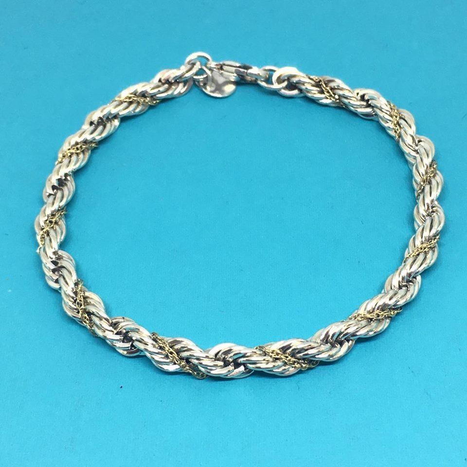 Sterling Silver And 18k Yellow Gold Twist Rope 12345678