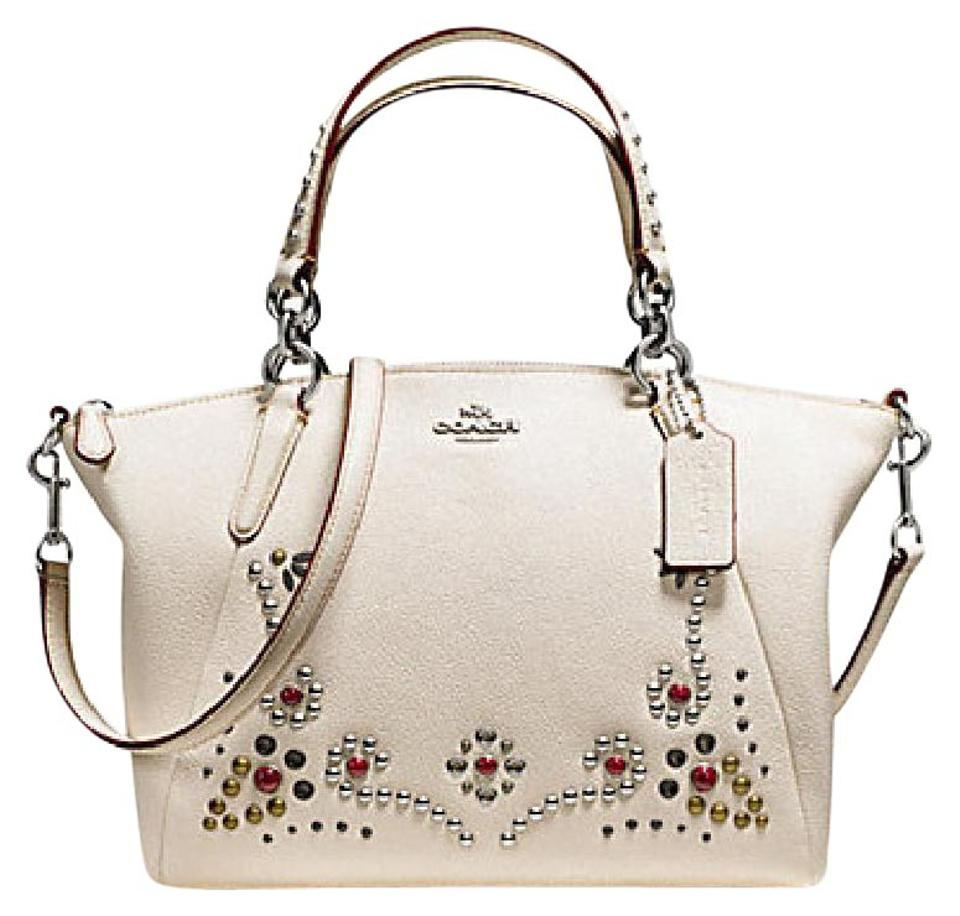 a650fa599295a Coach Kelsey Studded and Grommet Small White Leather Satchel - Tradesy