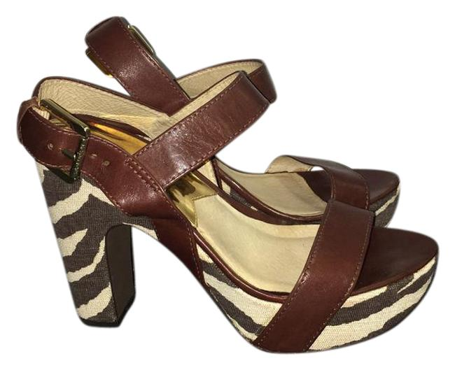 Item - Brown and Cream Zebra Platform Sandals Size US 7.5 Regular (M, B)