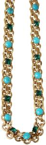 Lanvin NEW! Lanvin-Paris Turquoise and Emerald Green LONG Necklace Gold Blue