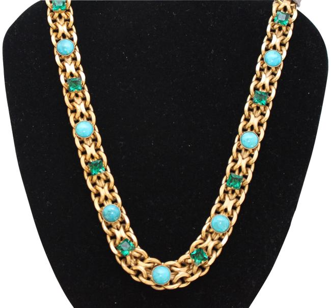 Item - Turquoise New -paris and Emerald Long Gold Necklace