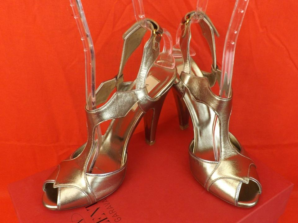 9 Sandals Peep Metallic Valentino Pumps Silver Slingback Toe Leather xwCaWnzAHq