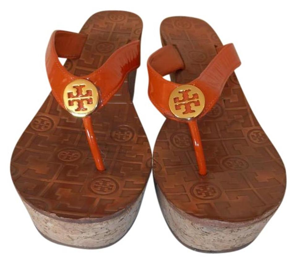 0cce716a189db Tory Burch Orange Thora Flip Flop Thong Wedge 8.5m Sandals Size US ...