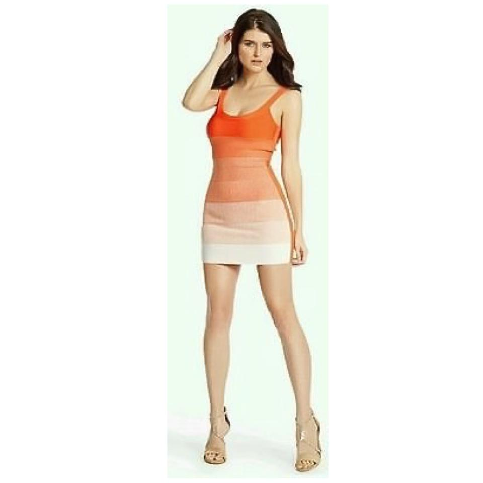 Guess By Marciano Orange Linden Ombre Bandage Short Cocktail Dress ...