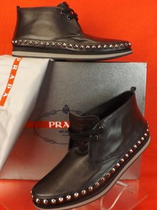Prada Black Mens Leather Spikes Lace Up Logo Chukka Ankle Boots 7.5 8.5 Shoes