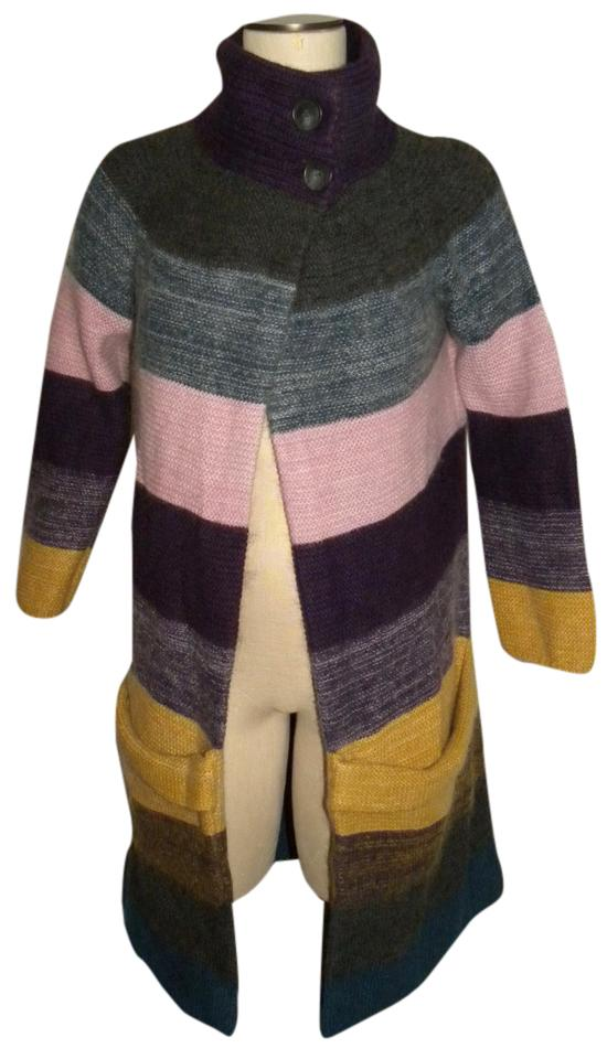 ddecd2d6cf2 Theory Multi Color Stripe Cashmere Sweater Coat Cardigan Size 4 (S ...