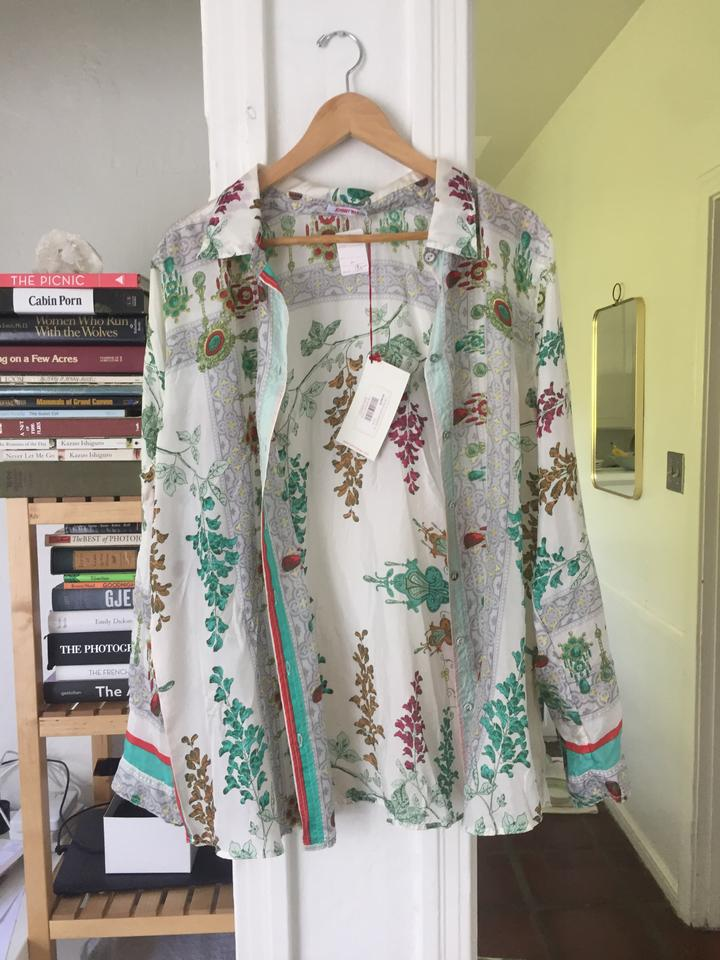 c9a1ba602c12e7 Johnny Was White with Red and Green Multi Silk Floral   Shirt   Tunic Button -down Top. Size  12 ...