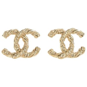 bc1f7c38d12d7 Chanel Crystal/Gold Twisted Rope Cc Logo Earrings
