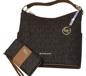 943bff686fb4 Michael Kors New 2pc Anita   Wallet Lrg Mk Convertible Msrp Brown ...