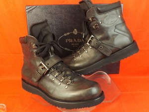 Prada Black Mens Dark Gray Leather Combat Lace Up Logo Ankle Strap Boots 9.5 10.5 Shoes