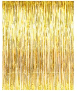 Gold Metallic Foil Fringe Curtains For Door Window Reception Decoration