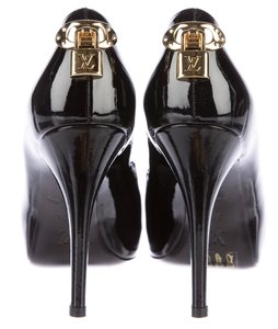 66e2ccee04 Louis Vuitton Oh Really Gold Hardware Lv Lock Peep Toe Patent Leather  Black, Gold Pumps