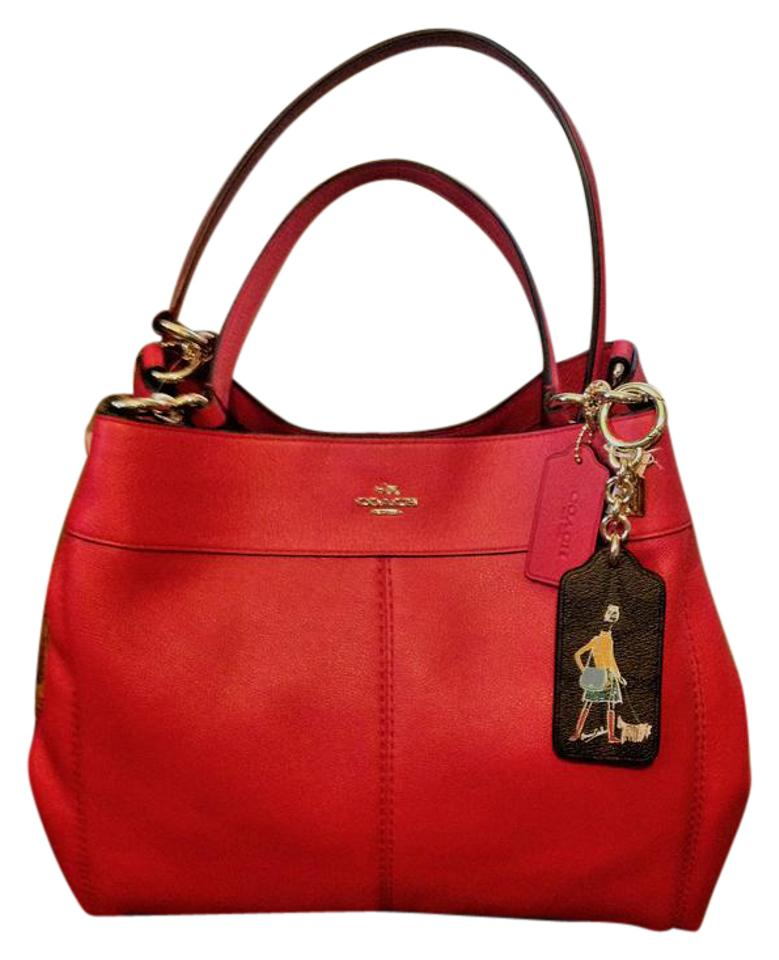 Coach Lexy Red Leather Handbag Shoulder Bag