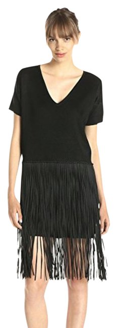 French Connection Black Spotlight Fringe Mid-length Cocktail Dress Size 8 (M) French Connection Black Spotlight Fringe Mid-length Cocktail Dress Size 8 (M) Image 1