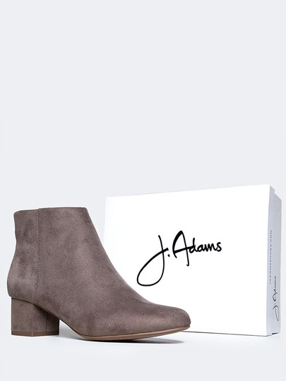J. Adams Ankle Round Zipper Low Heels Smokey Taupe Boots