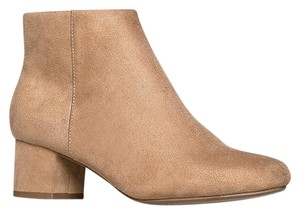 J. Adams Ankle Round Toe Zipper Heels Natural Suede Boots