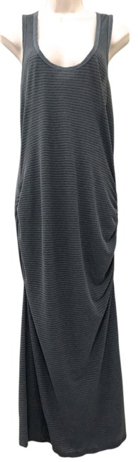 Item - Grey Striped Ruched Racerback Long Casual Maxi Dress Size 12 (L)