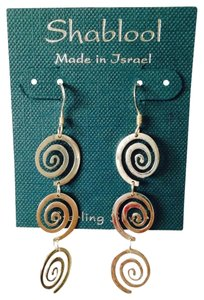 Shablool Silver Jewelry Design Sterling Silver Spiral Design Long Earrings