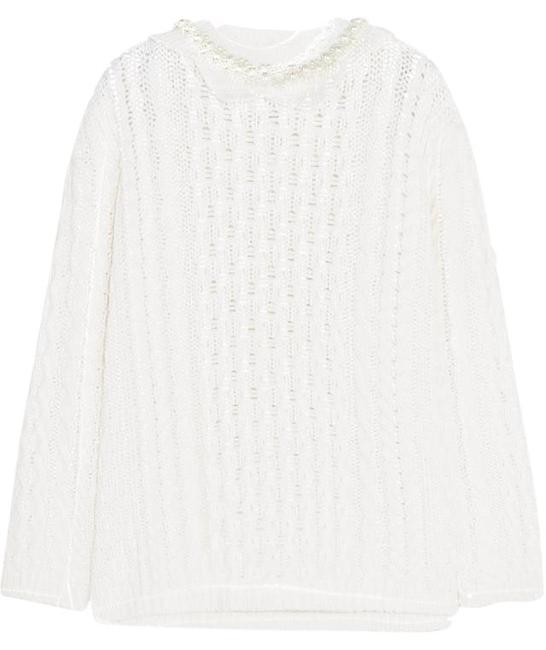 Item - Faux Pearl-embellished Cable-knit White Sweater