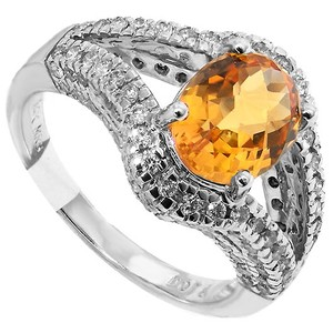 ABC Jewelry Fashion Ring With Round Diamonds And Oval Citrine